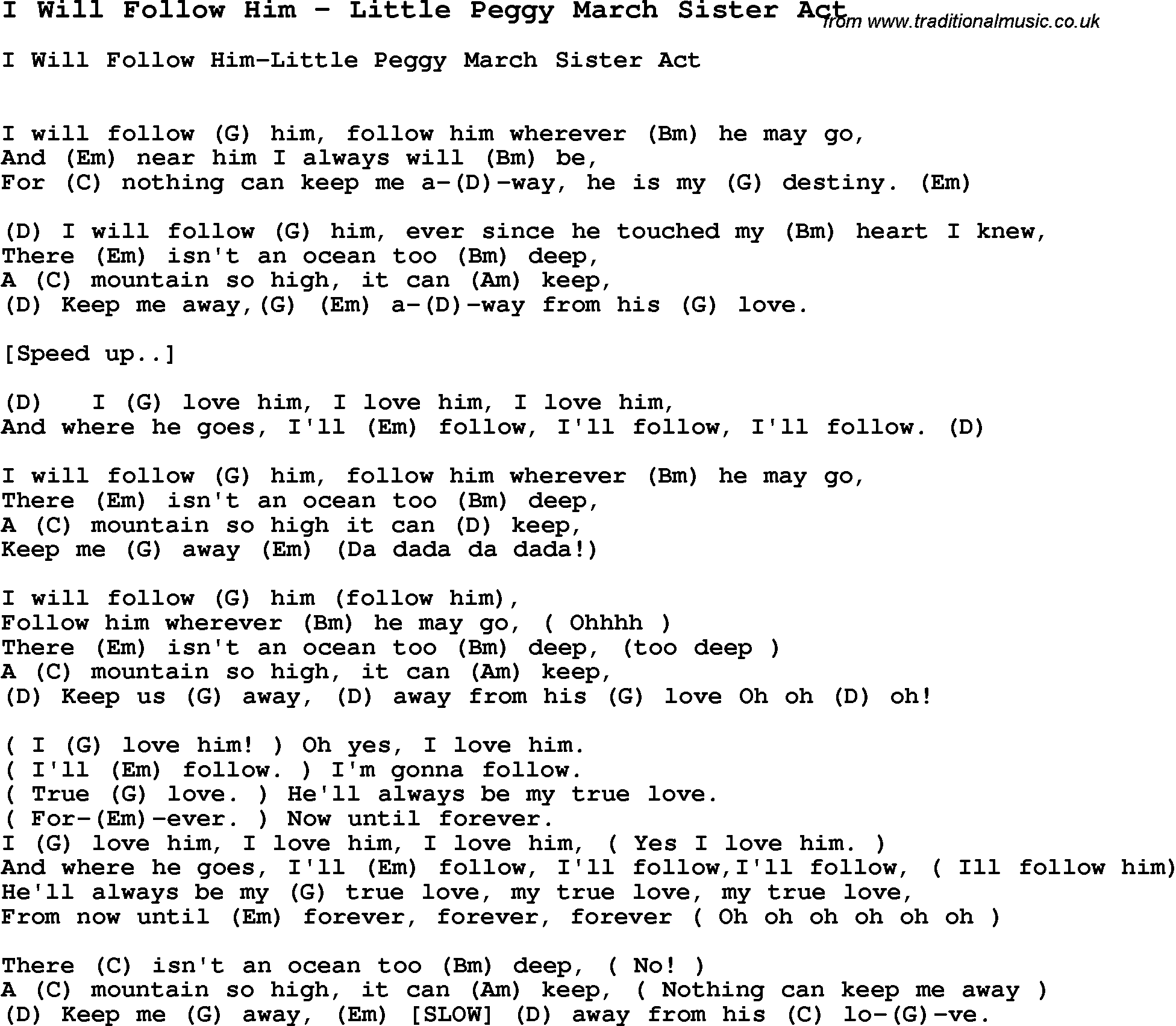 Song I Will Follow Him By Little Peggy March Sister Act With Lyrics