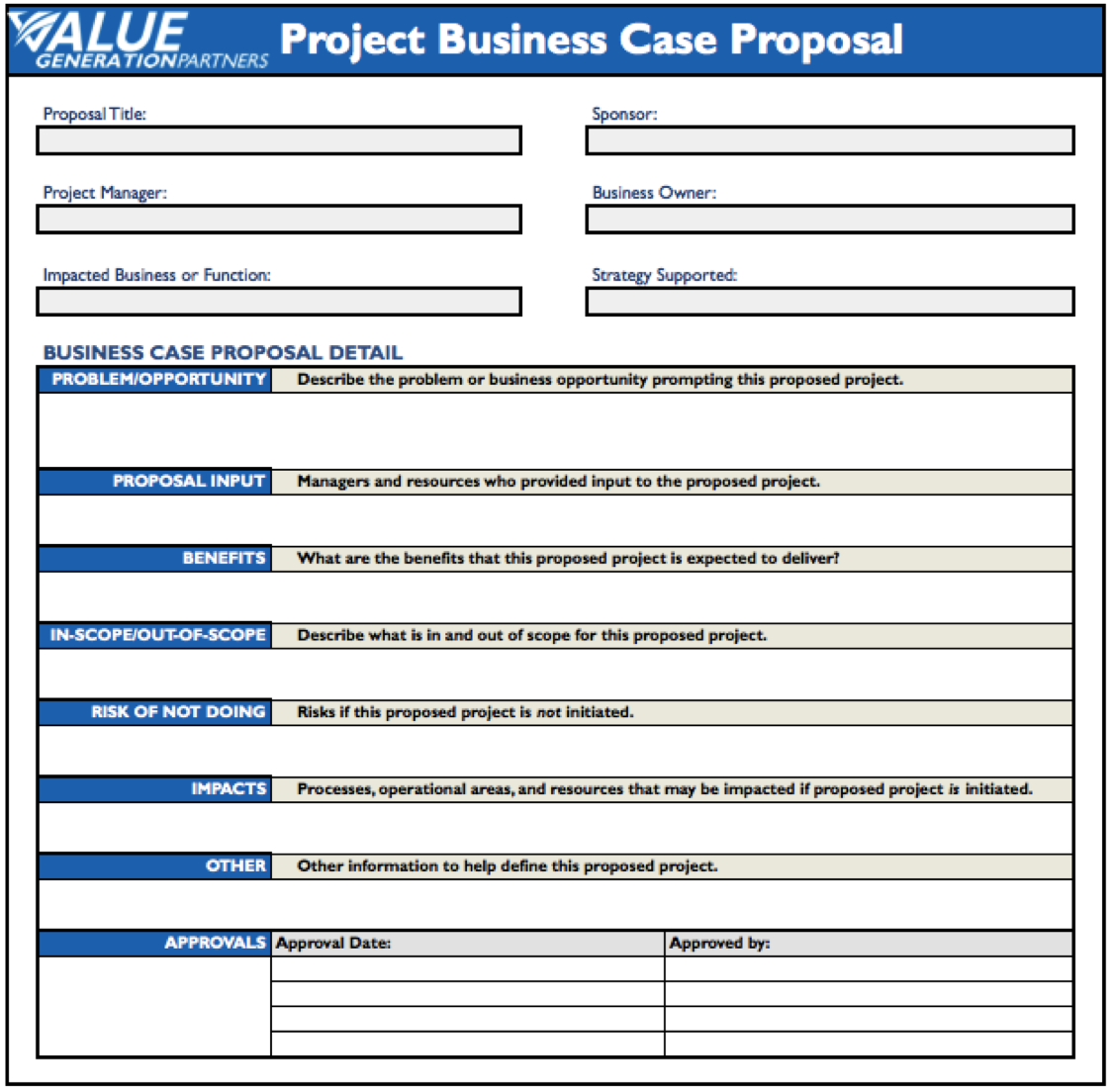 Regardless of your project business case proposal template