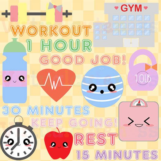 workout clip art fitness clipart training gym cute kawaii rh pinterest com free fitness clipart images free workout clipart