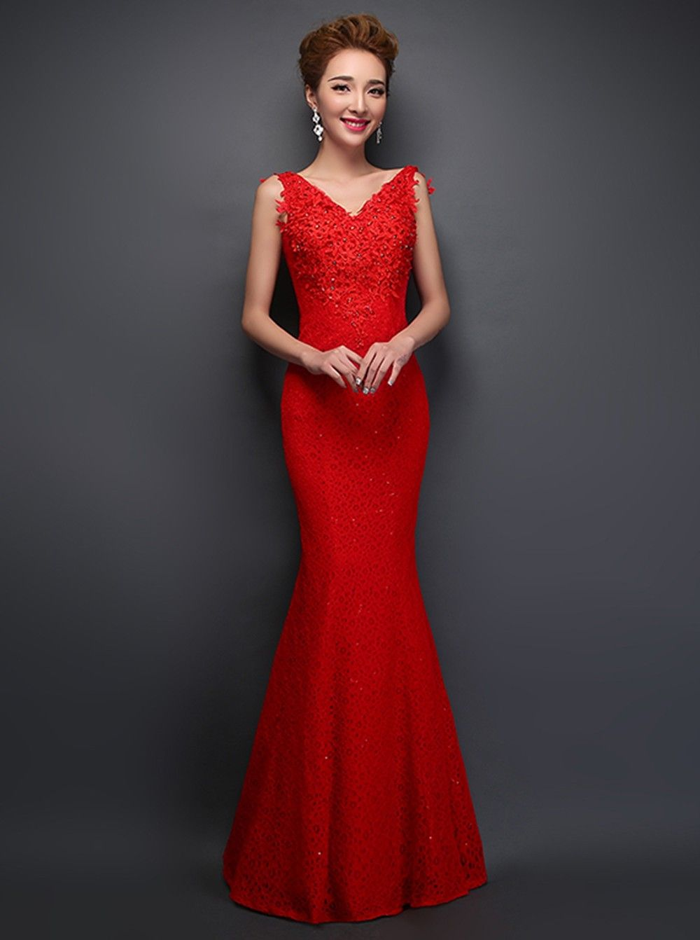 Mermaid V-neck Floor-length Lace Lace-up Red Prom Dress With Appliques  Beading cc2a14402