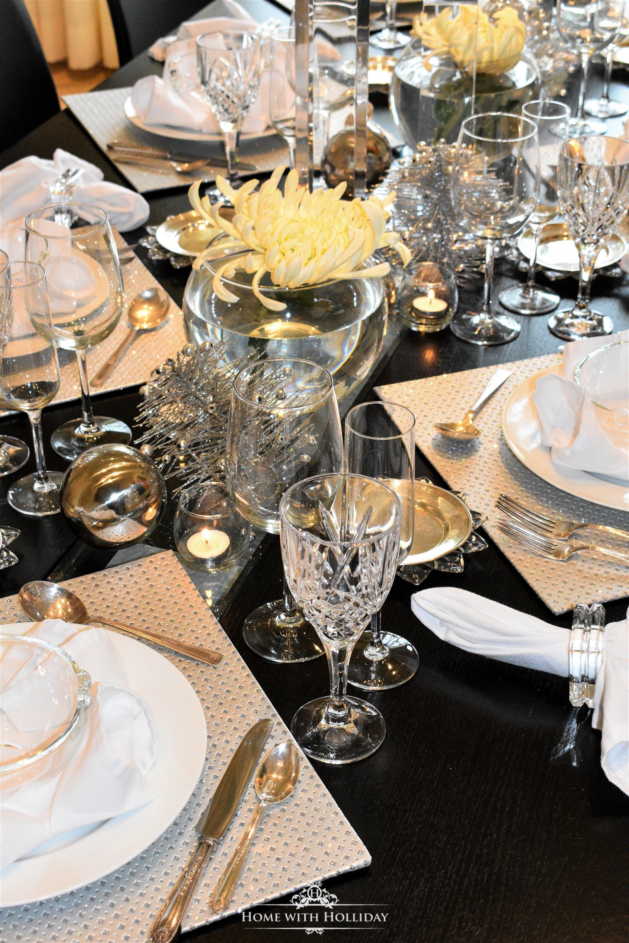 Silver and White New Year's Eve Table Setting - Home with ...