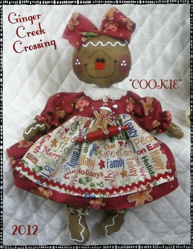 ♥ Primitive Christmas Gingerbread Doll Rolling Pin Ornie ♥ Ginger Creek Crossing | eBay