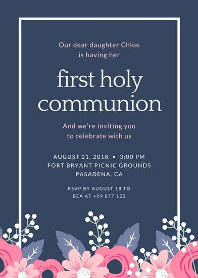 Lavender Gray with Flower First Communion Invitation KOKA komunia - invitation templates holy communion