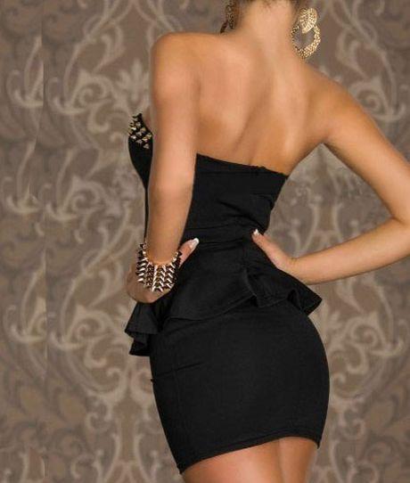 Punk Rivet Design Flouncing Empire Waist Black Polyester Tube Dress