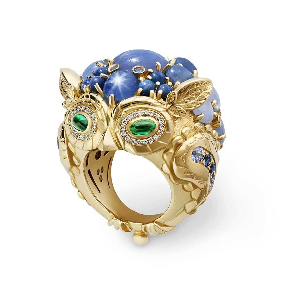 Make a statement with the Great Horned Owl ring from @templestclair set with #star #sapphires, Ceylon sapphires, #emeralds and #diamonds #templestclair  See more at www.thejewelleryeditor.com