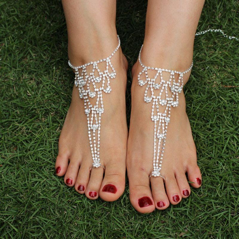 2017 New Charm Women Anklet Rhinestone Sexy Barefoot Sandals Anklets Beach Foot Jewelry Bridal Accessories Bare