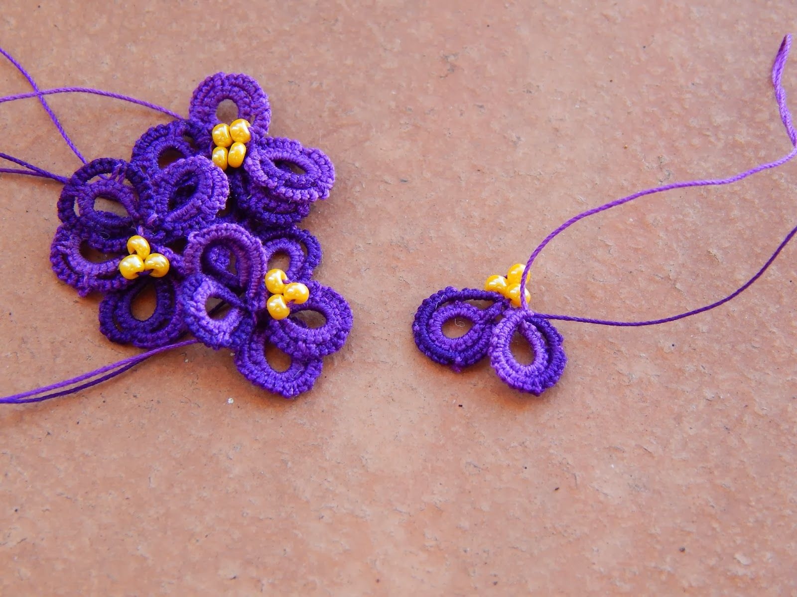 African Violet with tatting pattern at Carollyn's Tatting Blog: February's Frivolite flower!