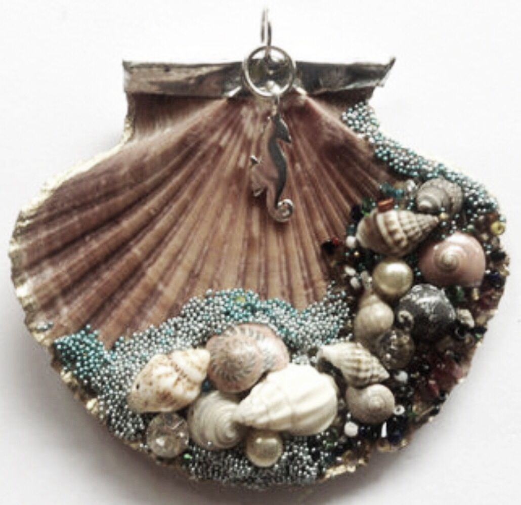 Seashell christmas ornaments - Decorated Seashell Could Be Used As An Ornament Or A Pendant