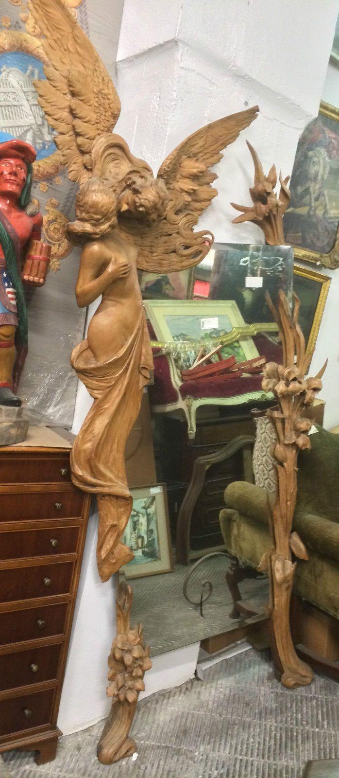 Specchio Liberty Con Cornice In Legno Intagliato