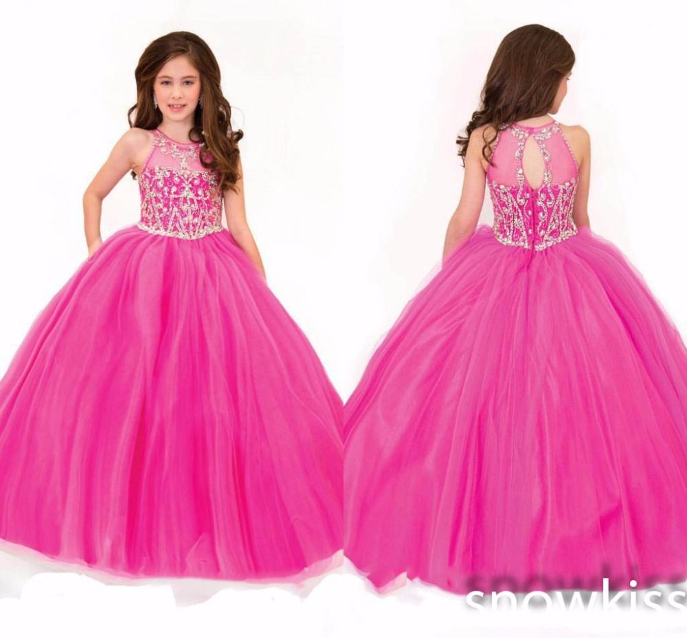 Beautiful long sheer neck beading crystals tulle ball gowns sparkly ...