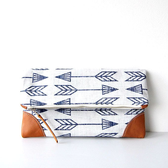 Arrowhead Indigo foldover clutch/ zipper clutch/nappy wallet