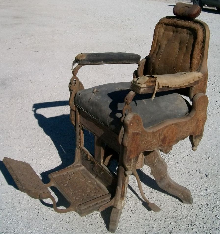 Late 1800's Antique Victorian Koken Wooden Barber Chair - Fancy - See Detail - Late 1800's Antique Victorian Koken Wooden Barber Chair - Fancy