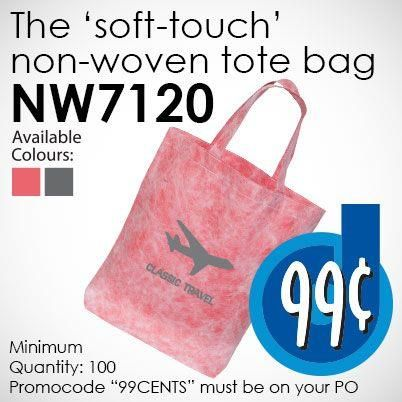 Fantastic 'Tactile' properties to this $0.99 deal! The NW7120 'Soft Touch' Non-Woven Tote Bag.