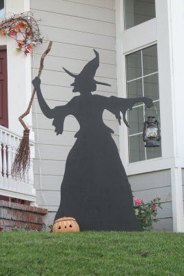 Witch And Cat Lawn Ornaments Fall Halloween Decor Halloween