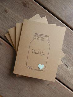 Mason Jar Thank You Cards-Kraft Mint Heart Mason Jar Rustic Wedding Thank You…