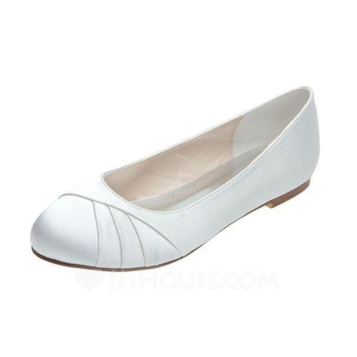 Frauen Satin Flascher Absatz Geschlossene Zehe Flache Schuhe