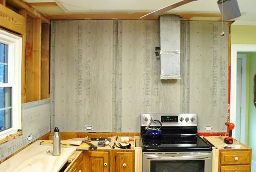 How To Hang Cement Backer Board For A Wall Full Of Tile Cabin Kitchens Kitchen Plans Painting Wood Paneling