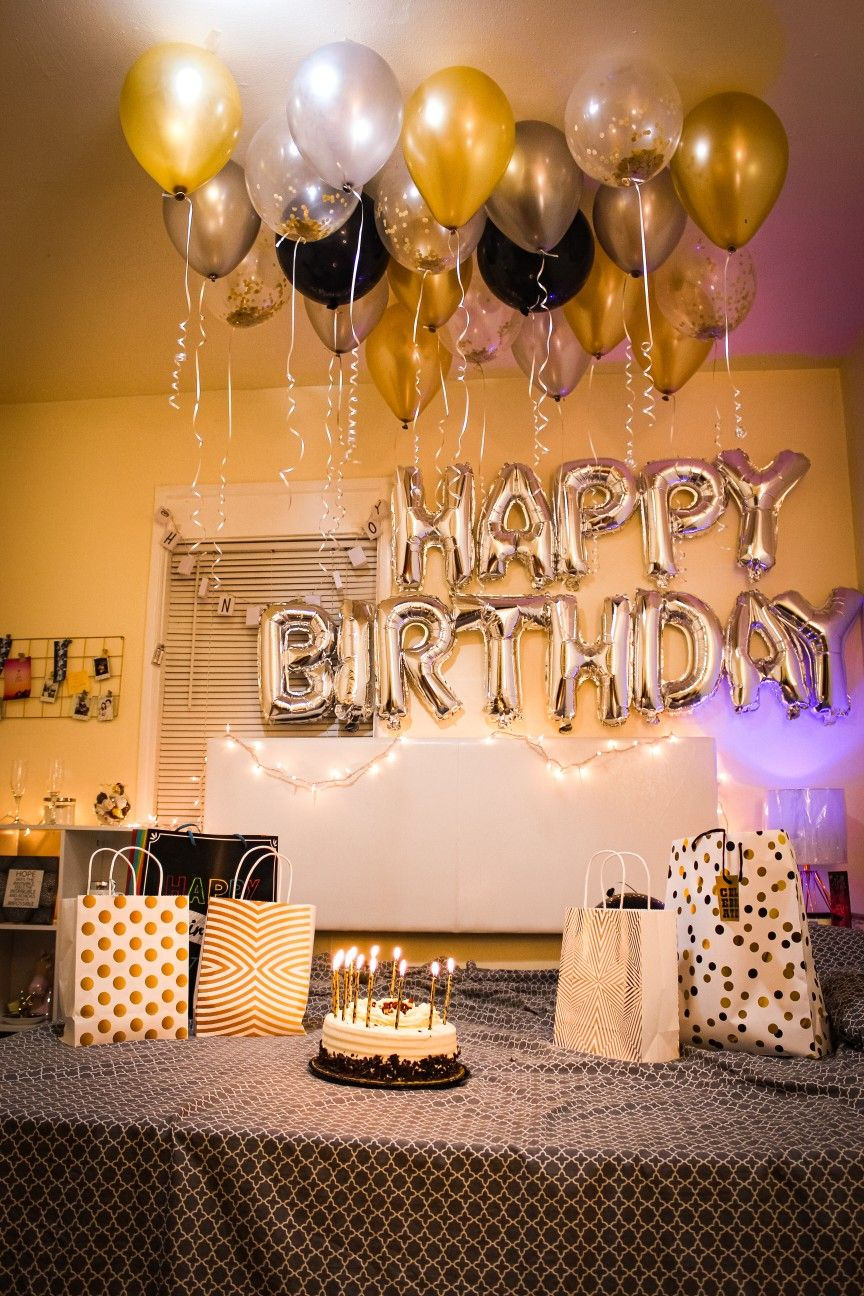 Birthday Decorations Ideas Golden And Black Decorations Boyfriend Birthday Dec Surprise Birthday Decorations Birthday Decorations Birthday Room Decorations