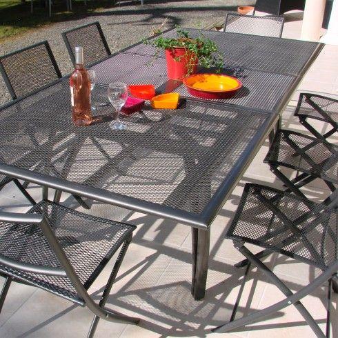 Salon de jardin - Table alu + 6 chaises plateau RALLONGE PAPILLON ...