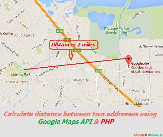 Distance Between Two Addresses using Google Maps API and PHP | PHP