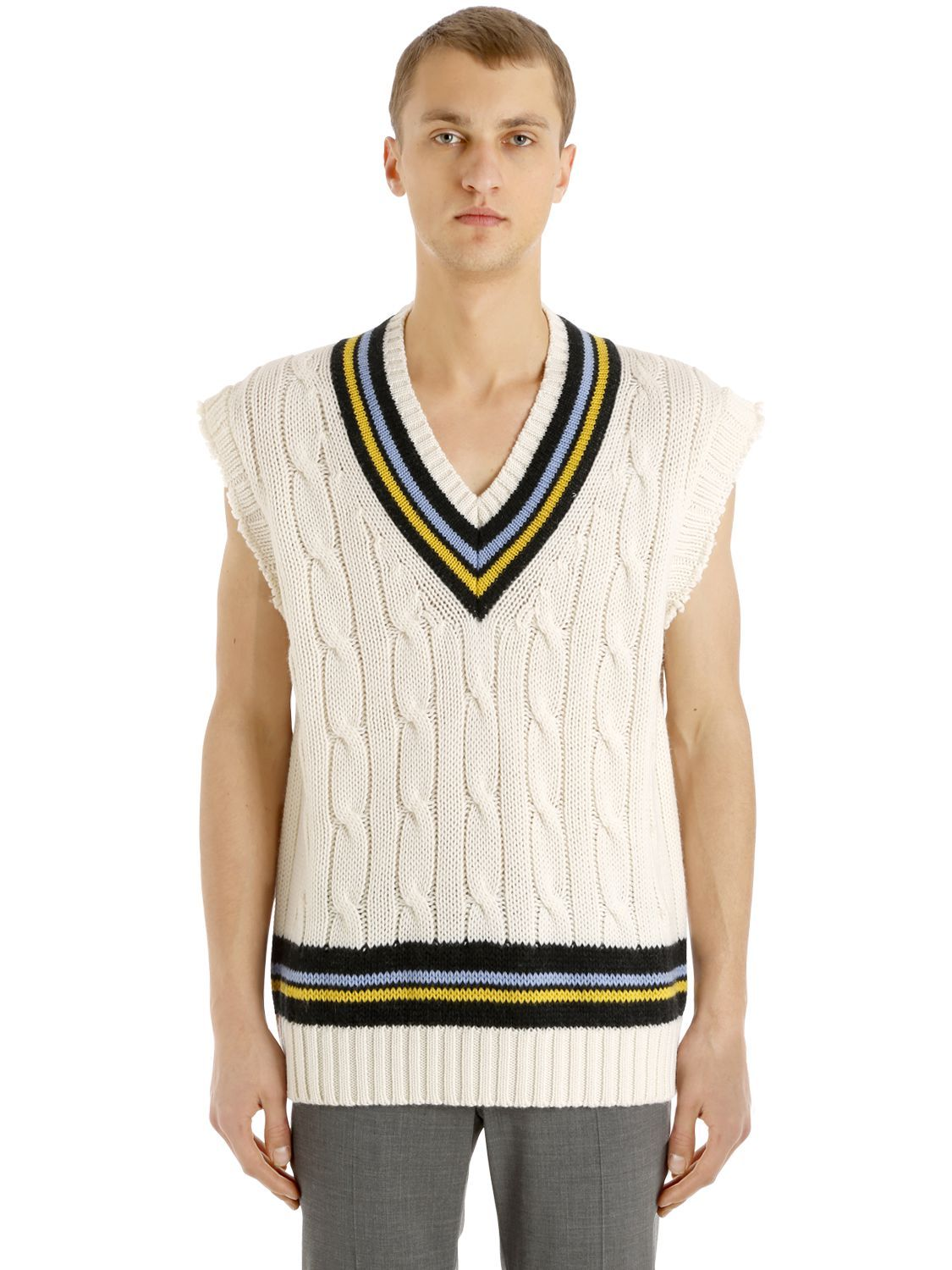 Maison Margiela Raw Edge Sleeveless Cable Knit Sweater In Cream Modesens Cable Knit Vest Cable Knit Sweaters Cable Knit