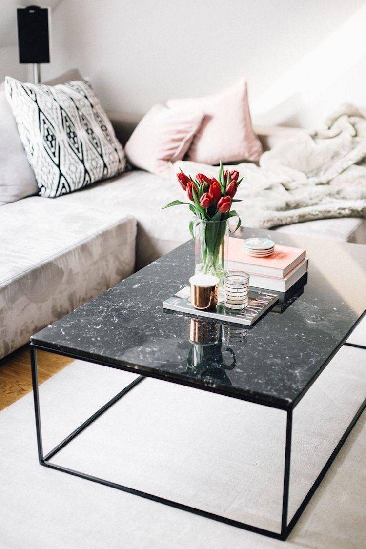 Entzuckend Schwarzer Marmor Couchtisch Weiss Creme Glanzvoll Kissen  #interiors