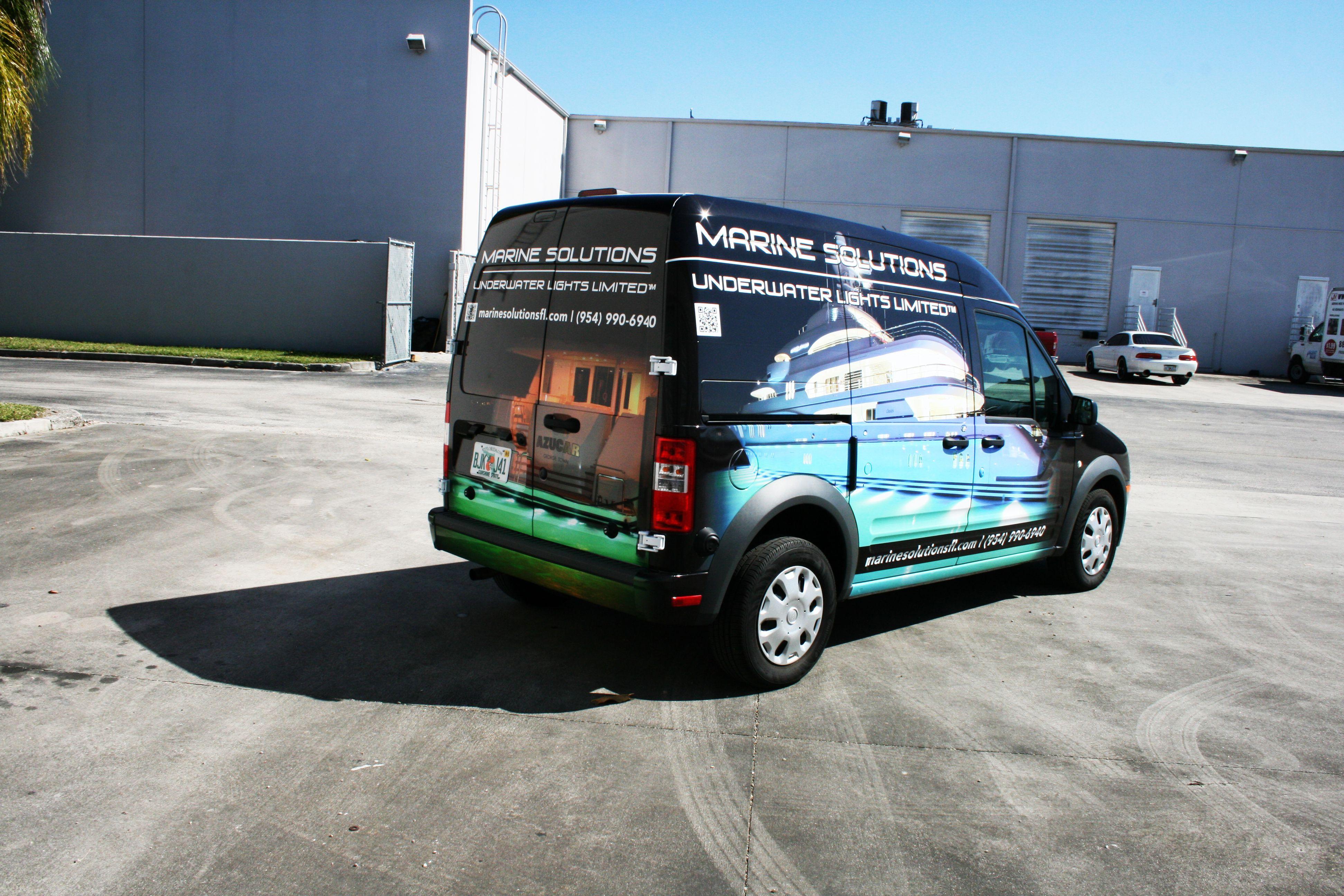Ford transit connect vinyl van wrap davie florida marine solutions http www