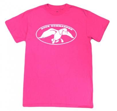 Heliconia Pink with White Duck Commander Logo T-Shirt   Duck Commander