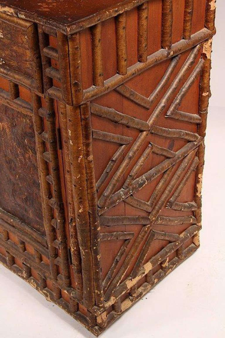 Rustic Adirondack Birch Twig Design Cupboard, c. 1890