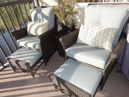 Hampton Bay Blue Hill 5 Piece Patio Conversation Set With Blue Green  Cushions S140071