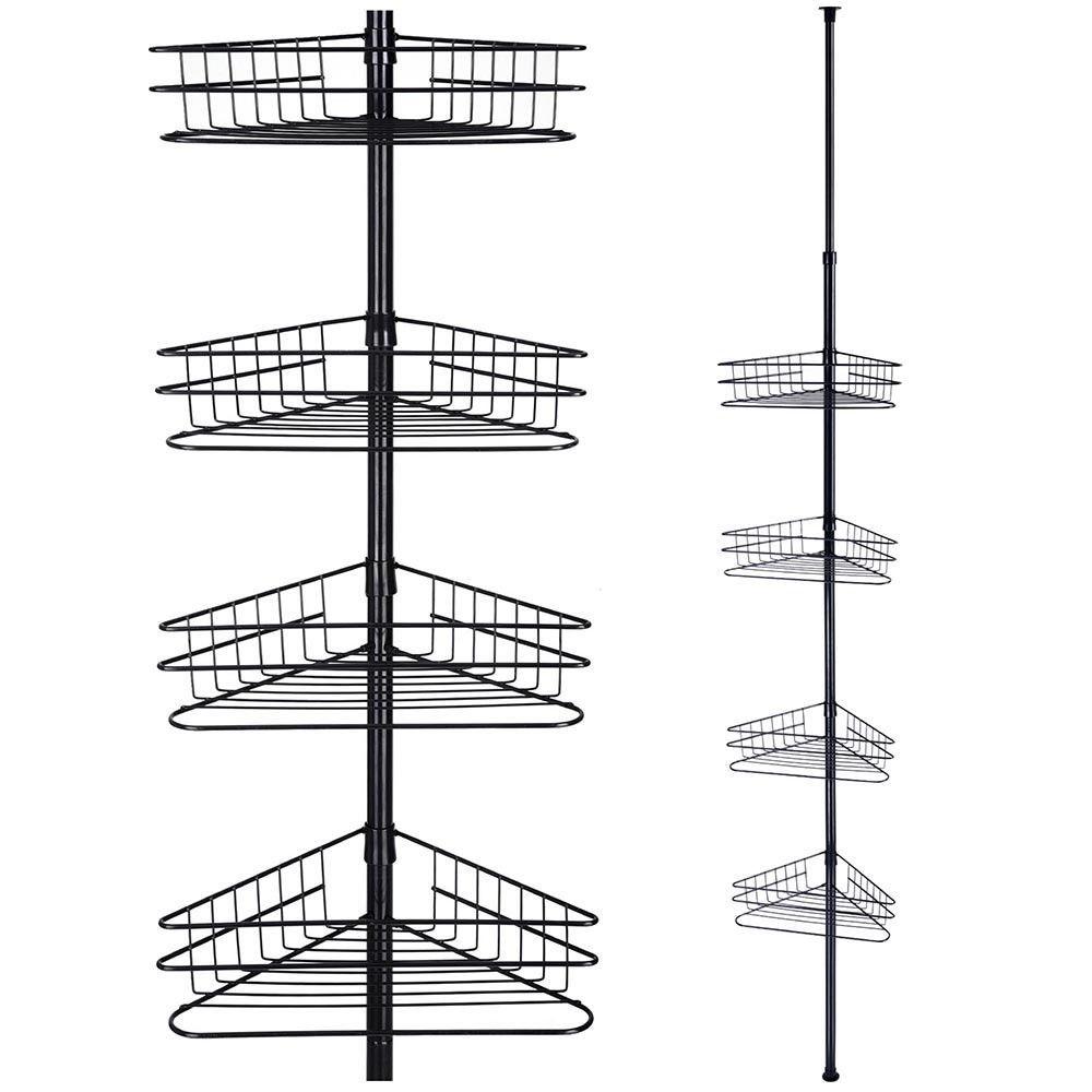 4 Tier Tension Metal Corner Pole Shower Caddy Shelf Bathroom Storage Organizer Shower Shelves Corner Shower Caddy Shower Caddy