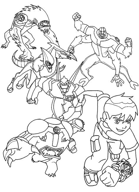 ben 10 colouring pages print out Cartoon Ben 10