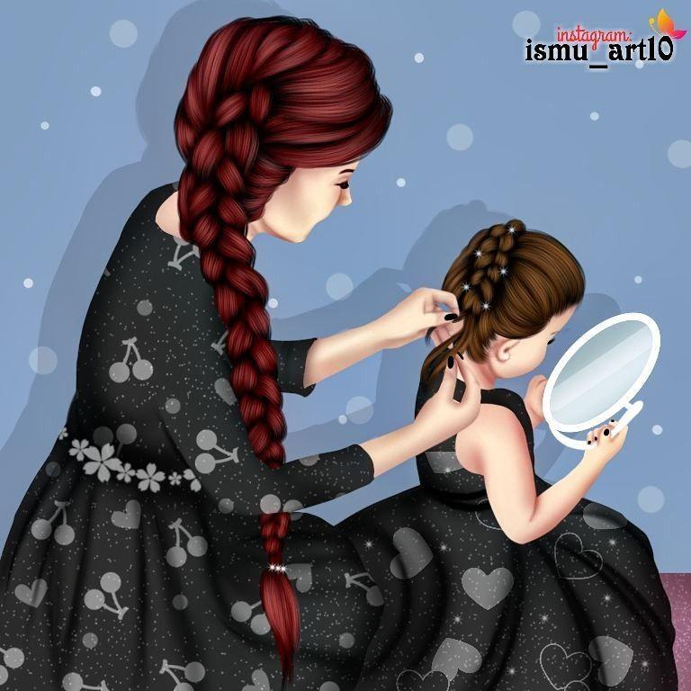 Mother And Baby Love Diseno Madre E Hija Dibujo Madre E