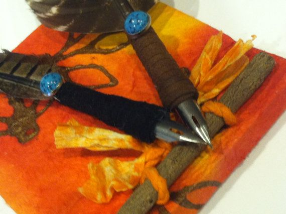 Natural Turkey and Lady Amherst Quills with Turquoise Stone Comes with Ink on Etsy, $18.00