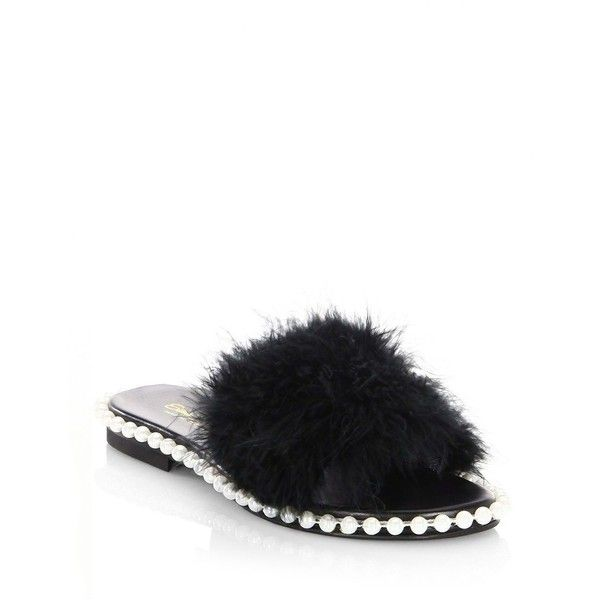 Elina Linardaki As If Feather Slides Sandals ($229) ❤ liked on Polyvore featuring shoes, sandals, open toe shoes, slip on shoes, elina linardaki sandals, leather sandals and leather slip on sandals