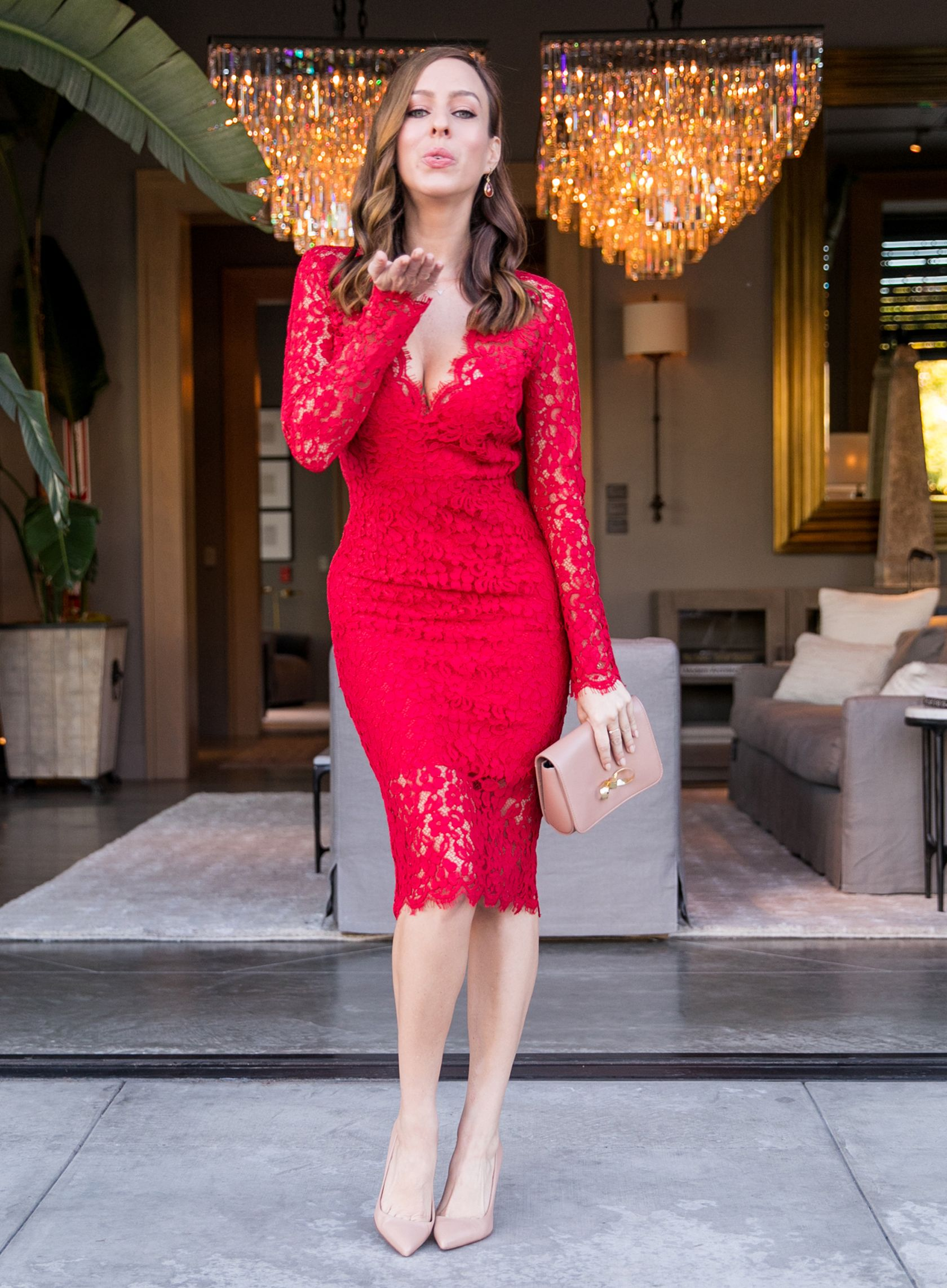 Red Long Sleeved Lace Dress Perfect For Valentine S Day Sydne Style Lace Dress Red Dress Outfit Red Long Sleeve Dress [ 2284 x 1680 Pixel ]