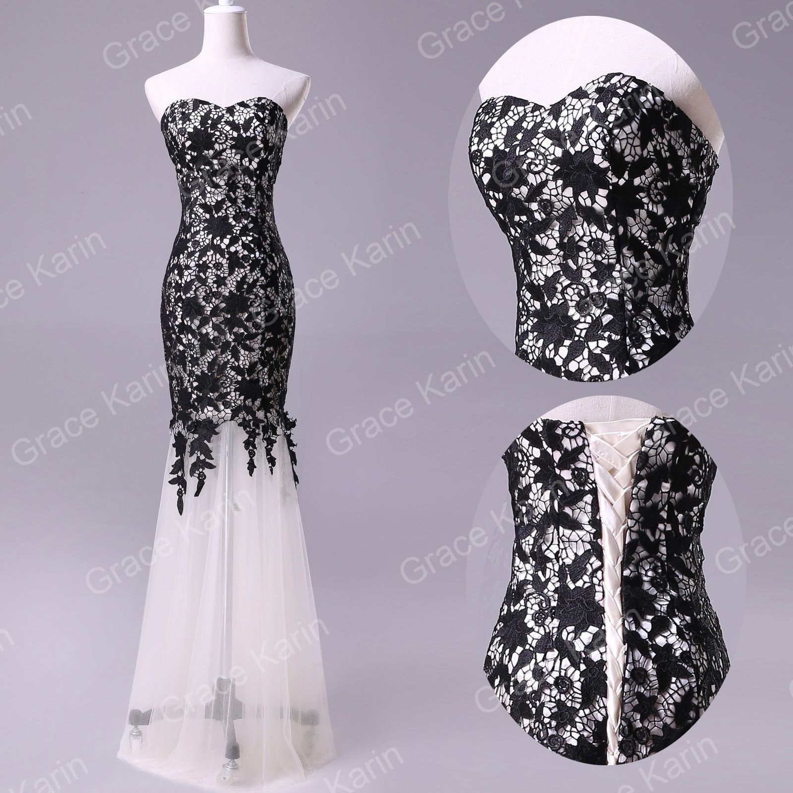 New black lace prom ball cocktail party wedding dress bridal formal