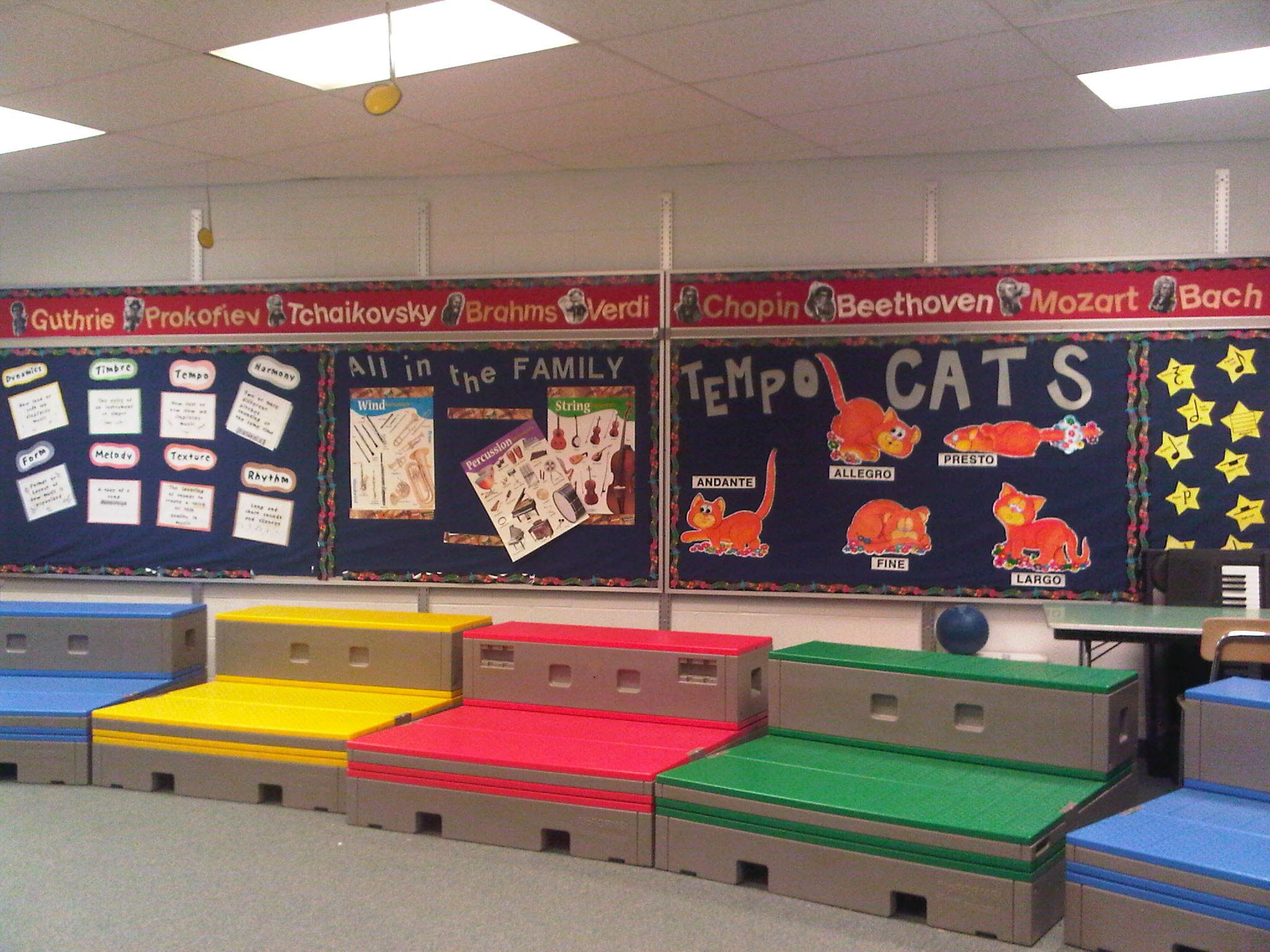 Decorating Elementary Classrooms ~ Music classroom set up love the decorations bulletin