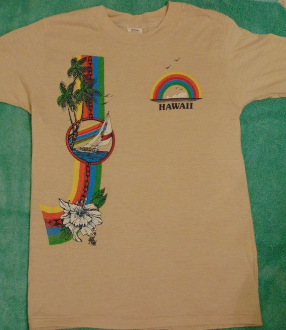 69d707ca SOLD!!!!!!!!1970s 1980s Vintage Hawaii T shirts Poly Tees Rainbow by  MY2NDJOB