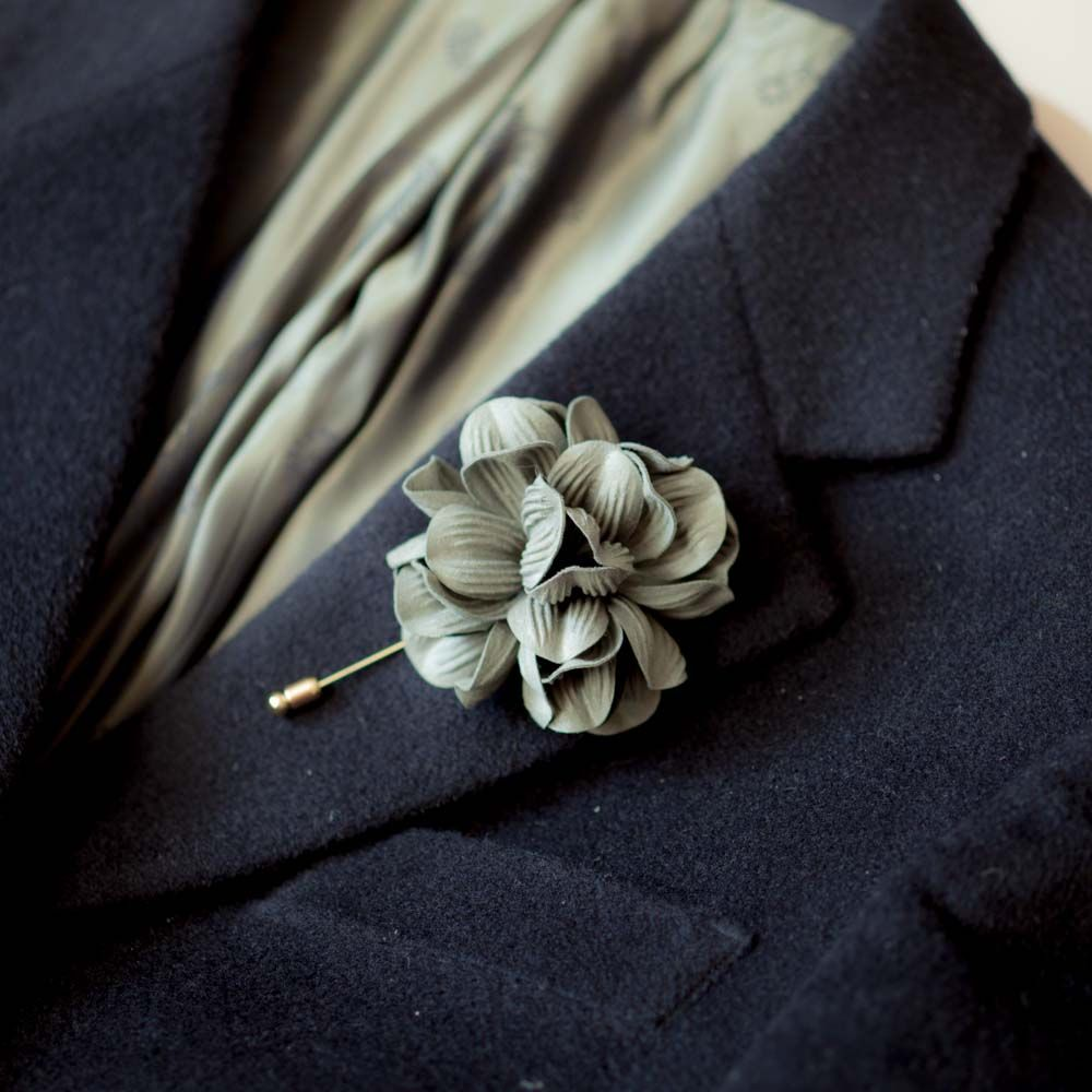 Khaki Green Flower Mens Boutonniere Buttonhole For Wedding