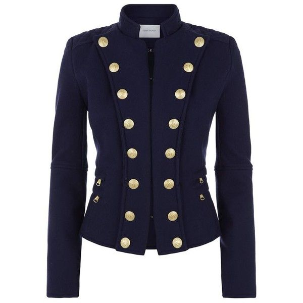 02385ebcae Pierre Balmain Button Front Collarless Military Jacket ($1,350) ❤ liked on  Polyvore featuring outerwear, jackets, blue military jacket, military jacket,  ...