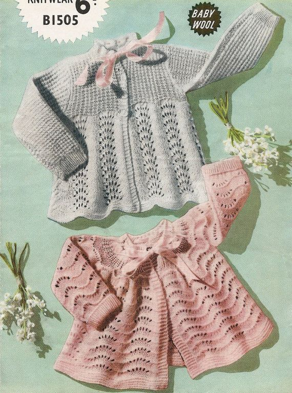 565 3 PLY KNITTING PATTERN Heirloom Baby Christening Robe and Shawl 0-9mths