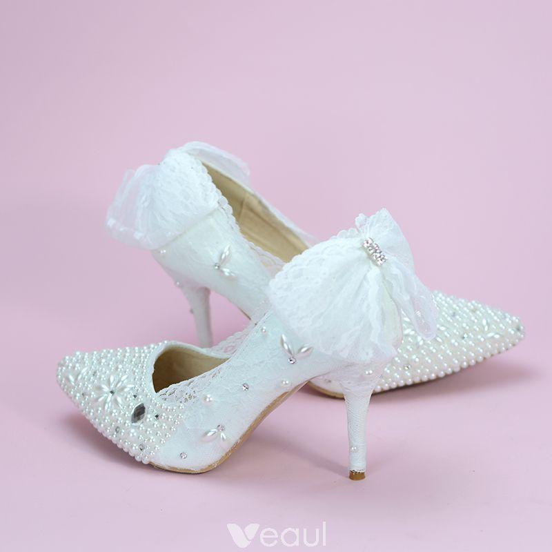 Elegant Ivory Wedding Shoes 2019 Bow Rhinestone Pearl 8 Cm Stiletto Heels Pointed Toe Wedding Pumps Ivory Wedding Shoes Stiletto Heels Wedding Pumps