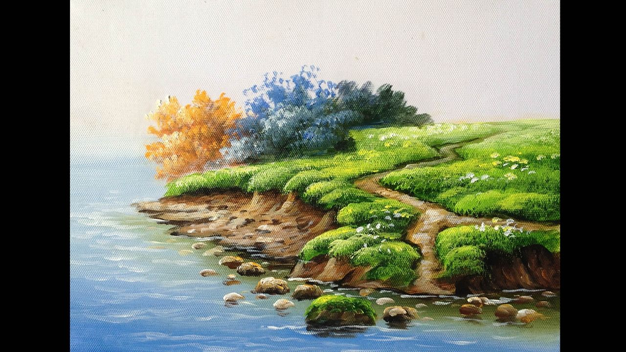 How To Paint Riverbank With Acrylics Lesson 1 Acrylic Painting Tutorials Landscape Paintings Acrylic Acrylic Painting Techniques