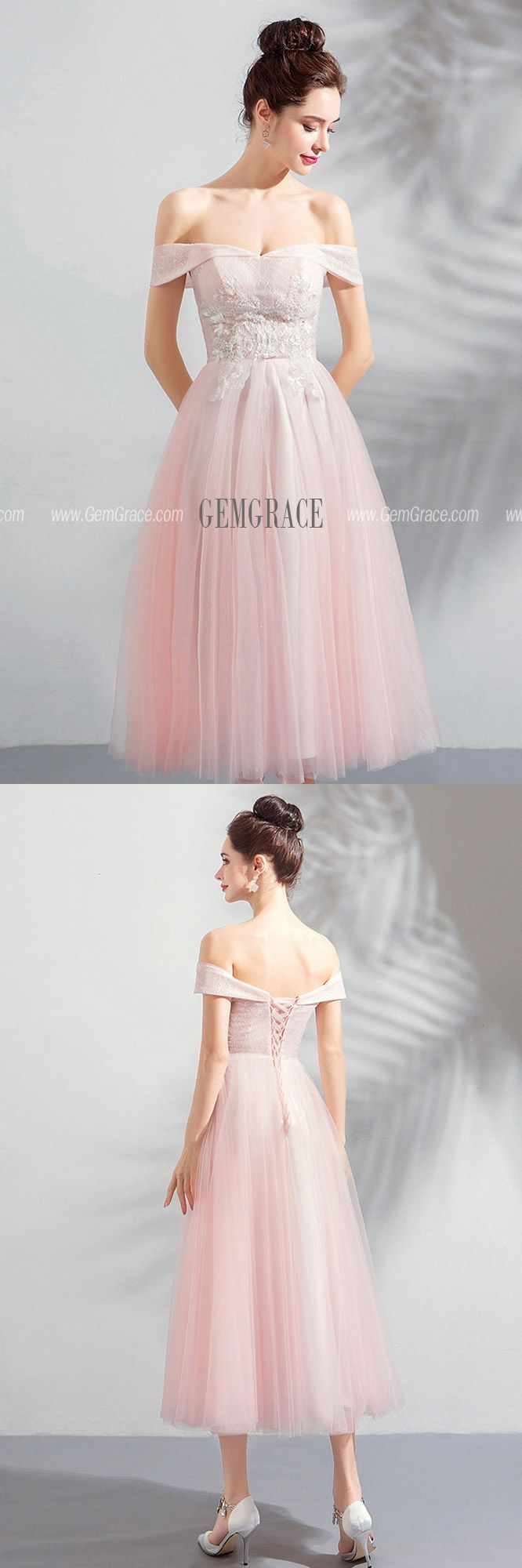 [$98.99] Gorgeous Pink Tulle Off Shoulder Tea Length Party ...