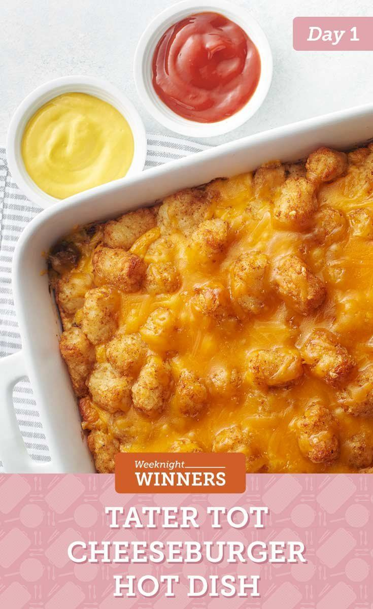 Impossibly Easy Tater Tots™ Cheeseburger Casserole #impossiblecheeseburgerpie