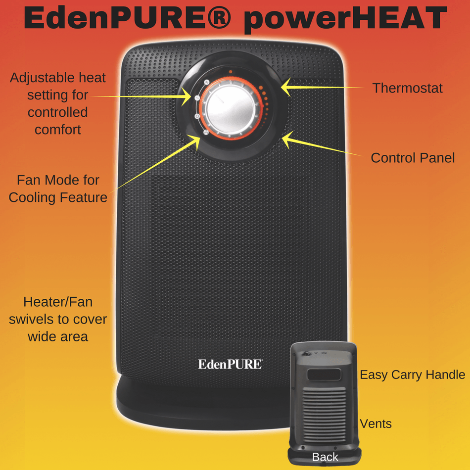 The EdenPURE powerHEAT Heater and Fan is a safe, portable heater yo ...