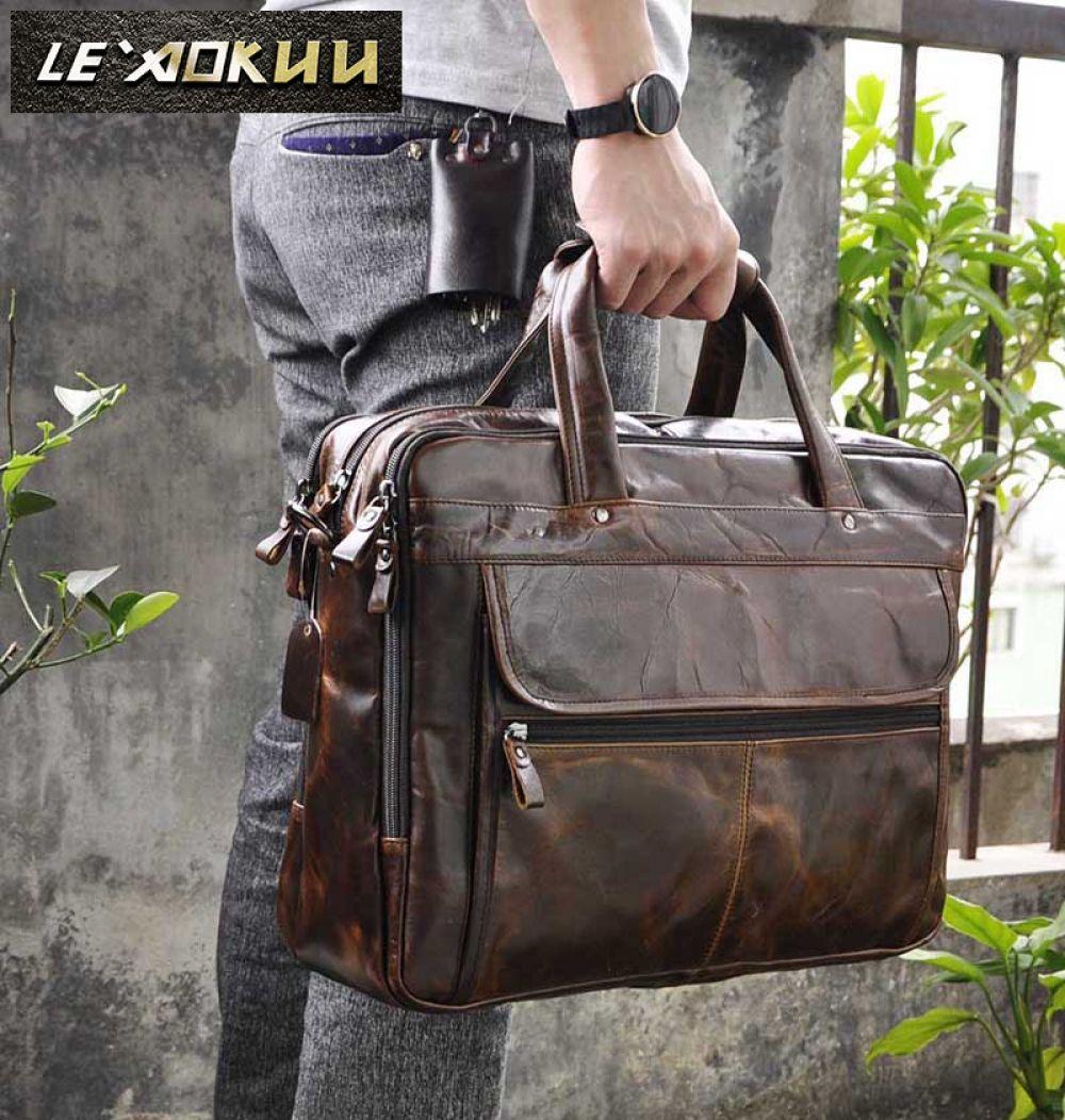 New Men Leather Briefcase Business Laptop Attache Messenger Portfolio Bags Brown