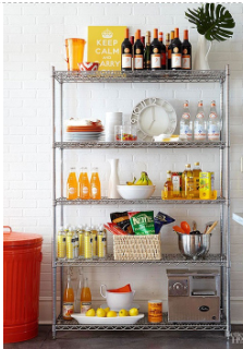 Narrow Shelving Units Of All Designs To Accommodate Smaller Living Quarters Perfect For Extra Kitchen Storage Small Apartment Decorating Metal Shelving Units
