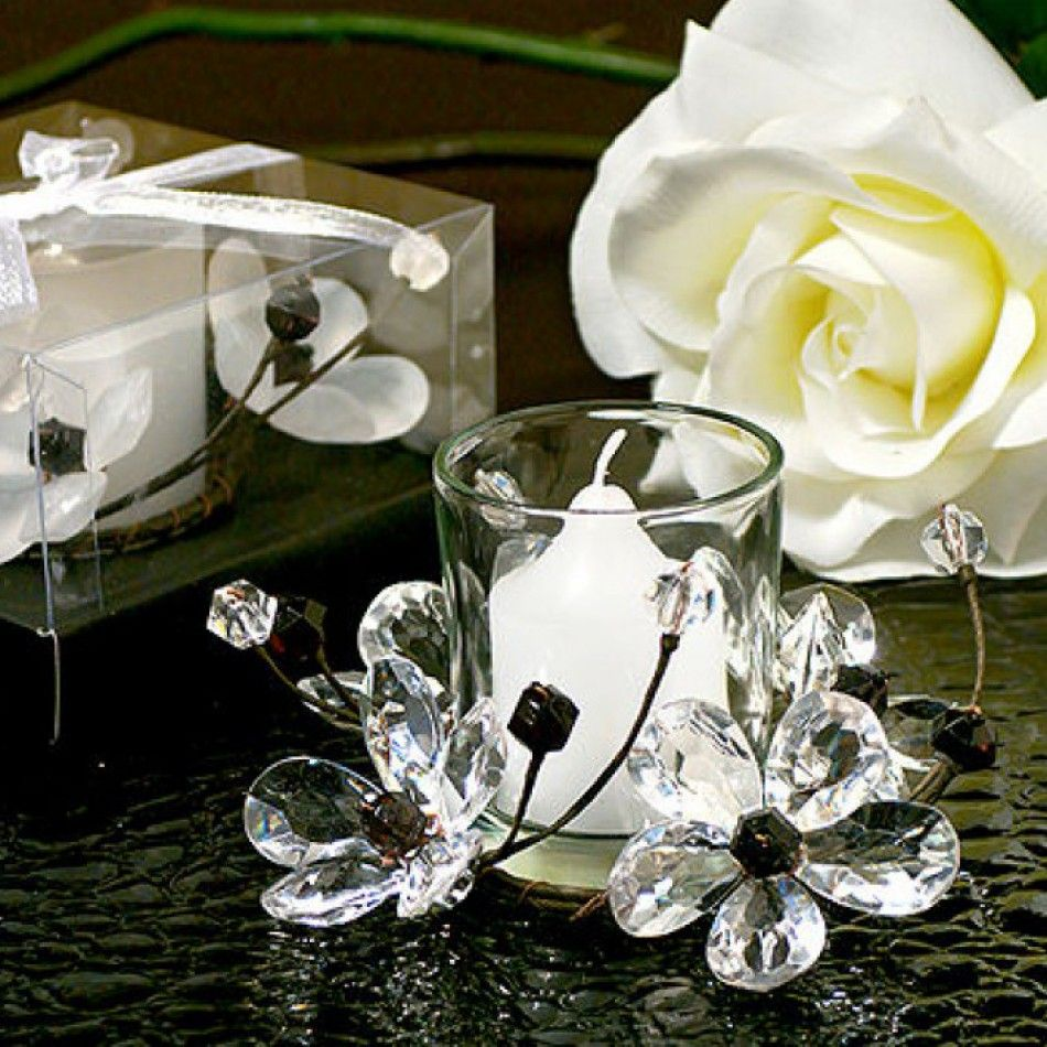 Black u white crystals flower candle holder flower candle